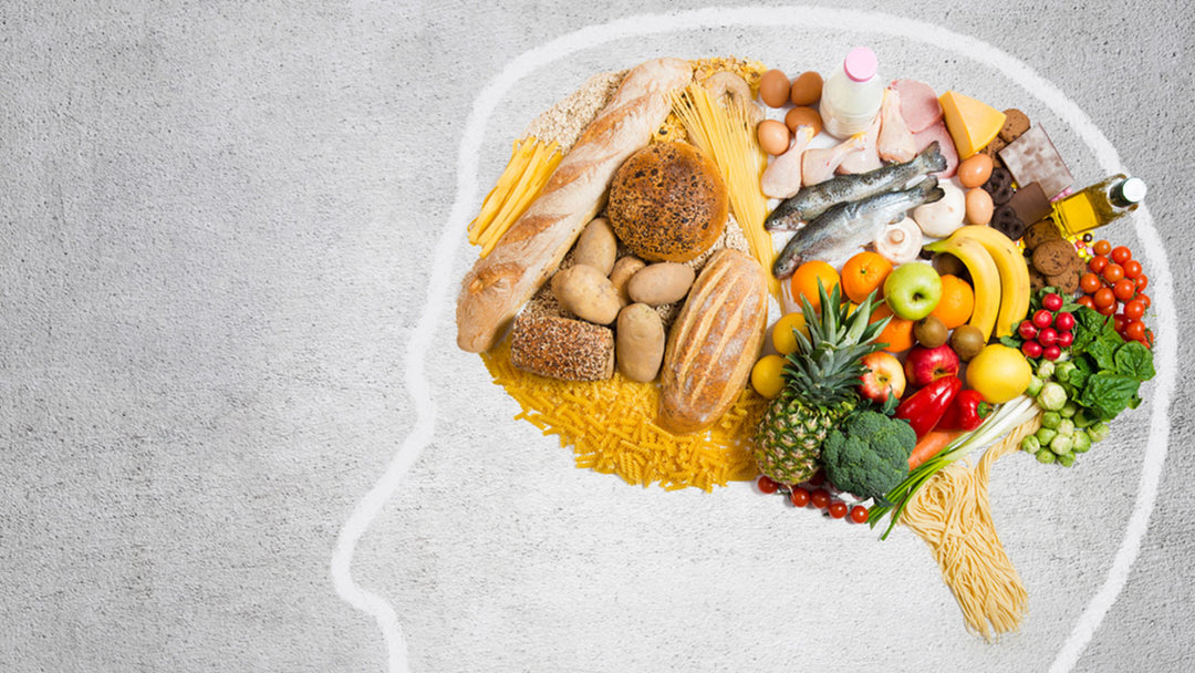 Illustration of healthy foods for the brain