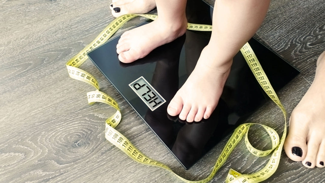 stepping on a weighting scale