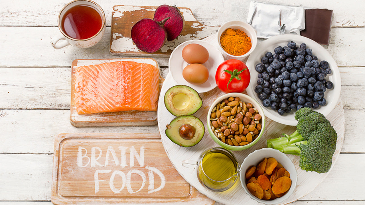 Foods good for the brain on a wooden table