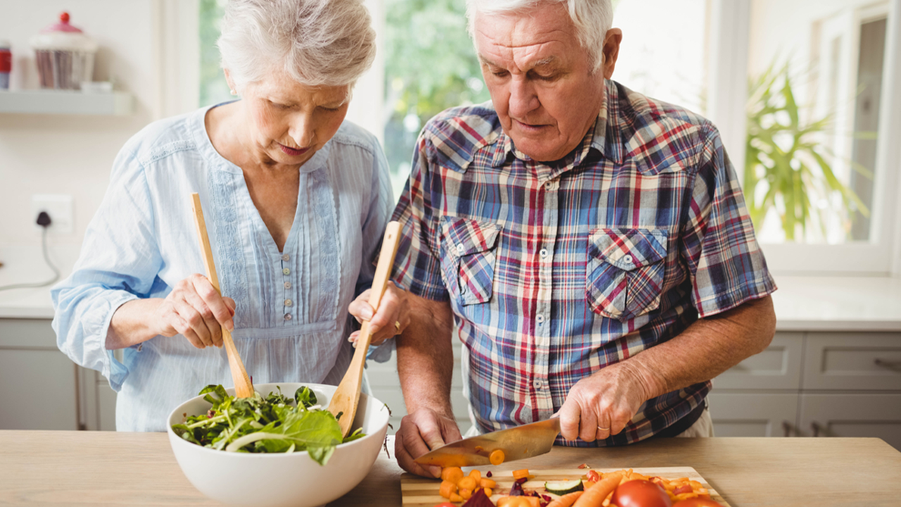 Older adults eating healthy