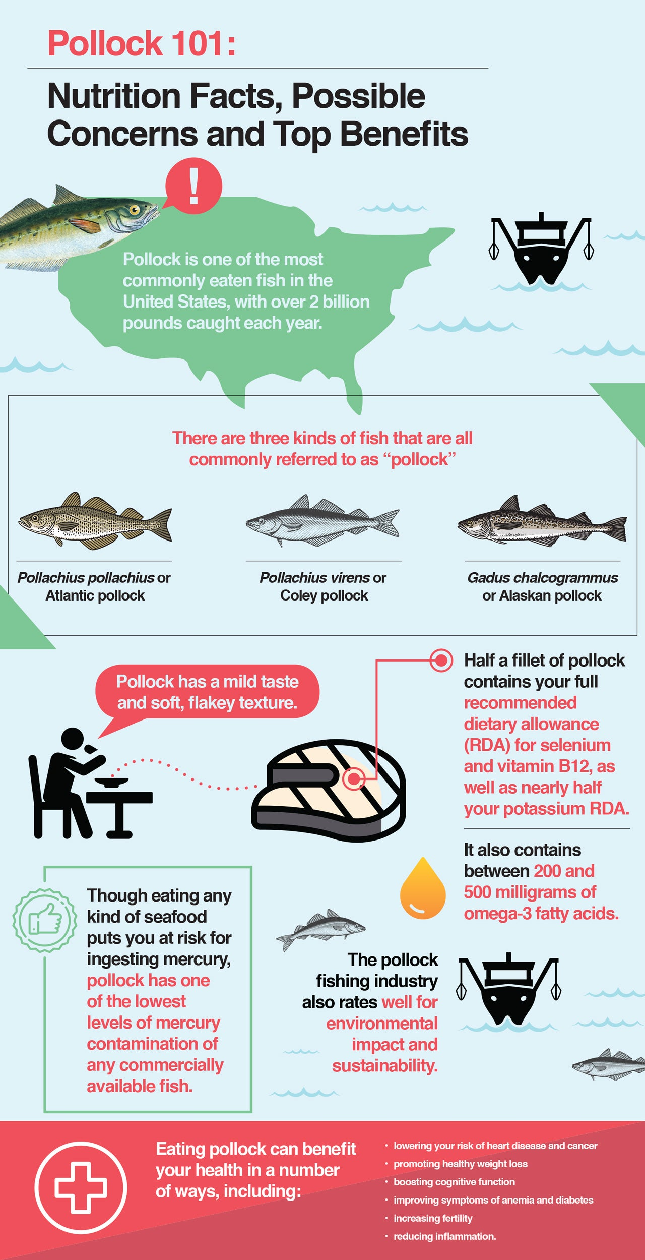 Here are the nutritional values and concerns of consuming Pollock.