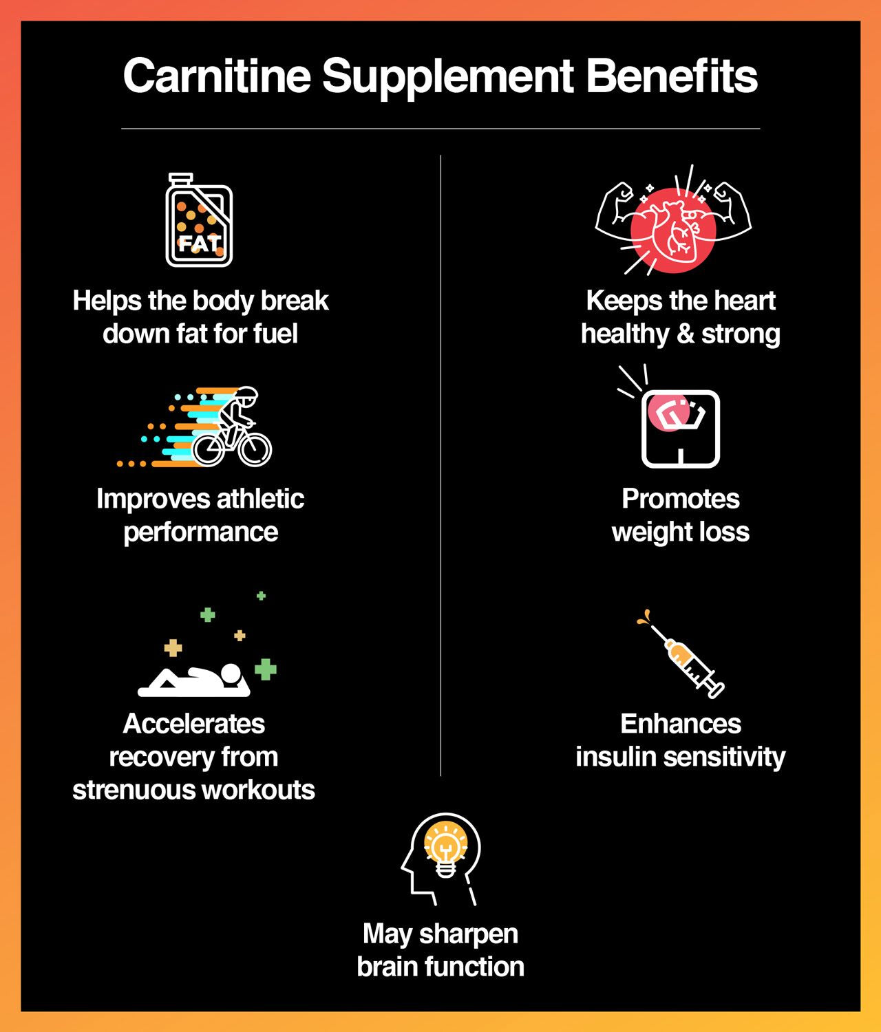 Carnitine helps the body break down fatty acids for energy.