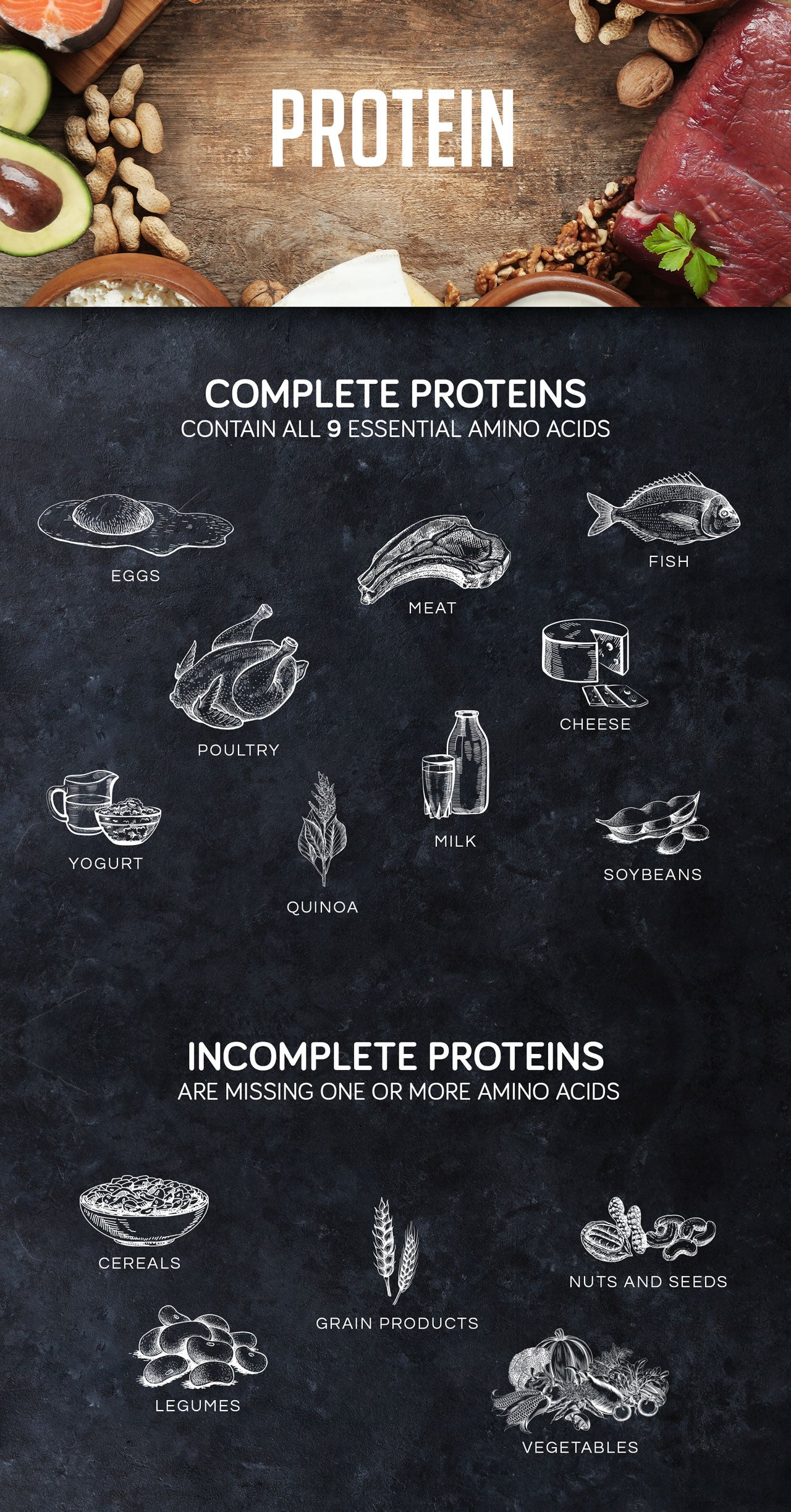Complete and incomplete protein