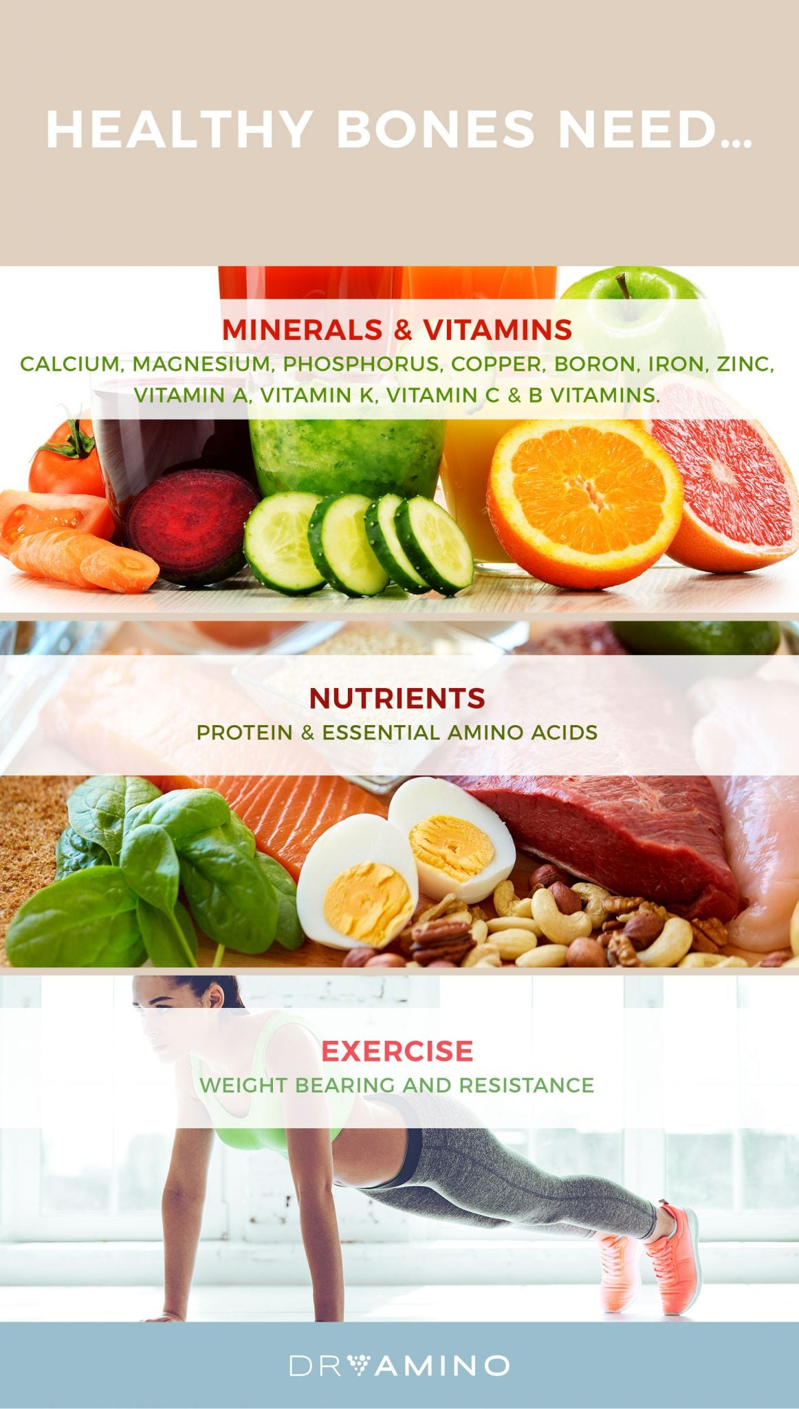 Most everyone recognizes calcium, vitamin D, and other minerals as key nutrients for bone health. What many people don't know is that a significant part of bone in living humans is comprised of protein. Dietary protein and amino acids are as important for bone building as they are for muscle building.