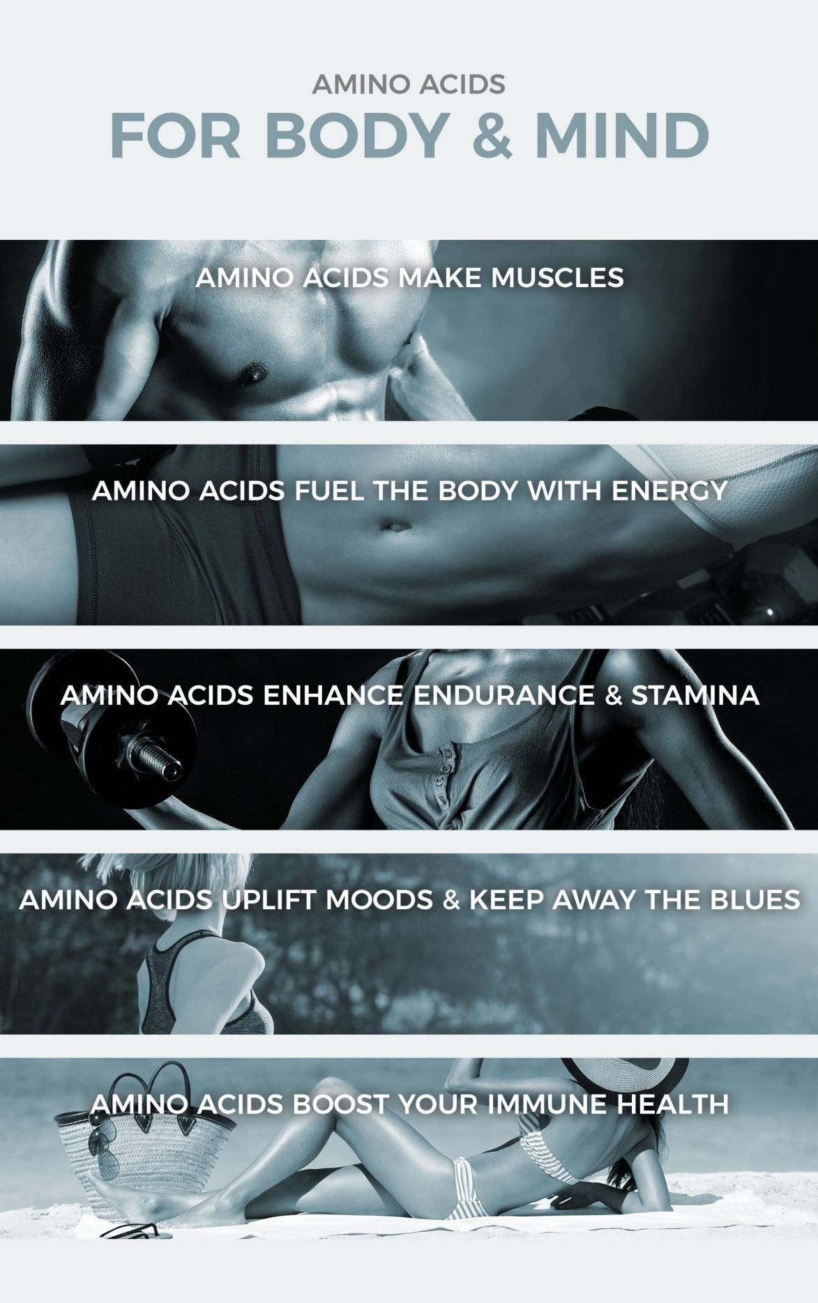Amino acid benefits for body and mind