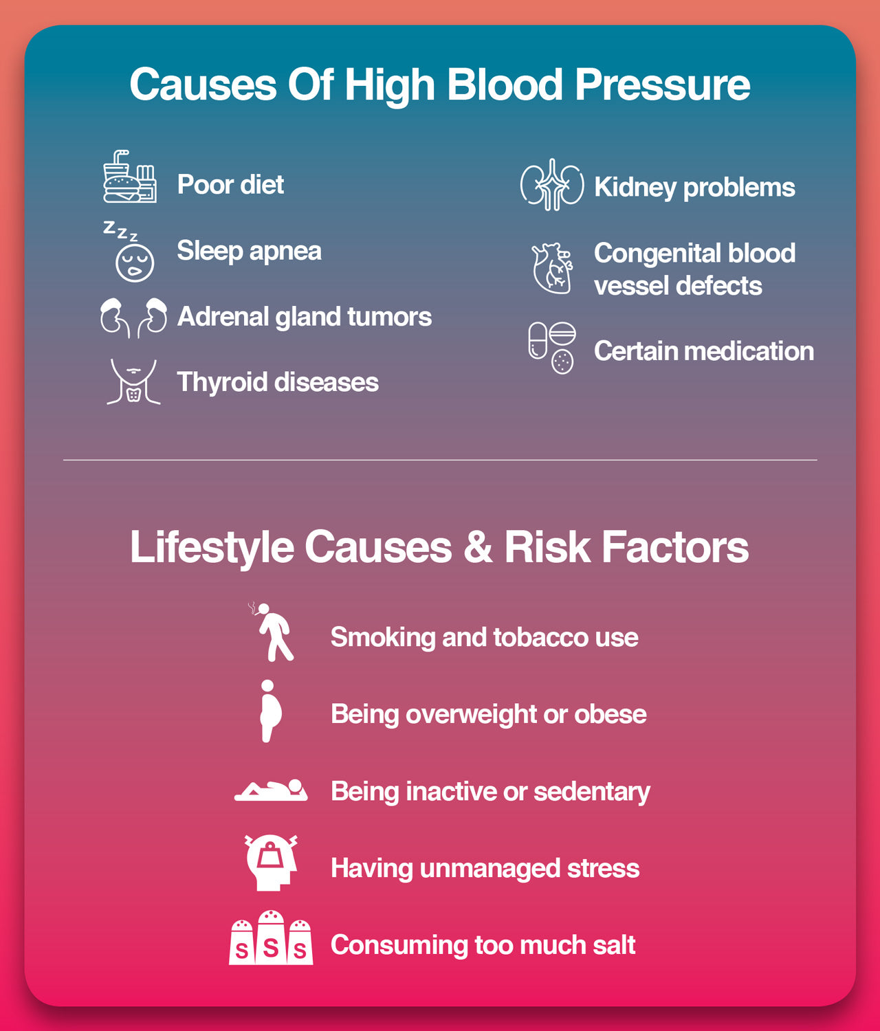 Here are the causes of high blood pressure.