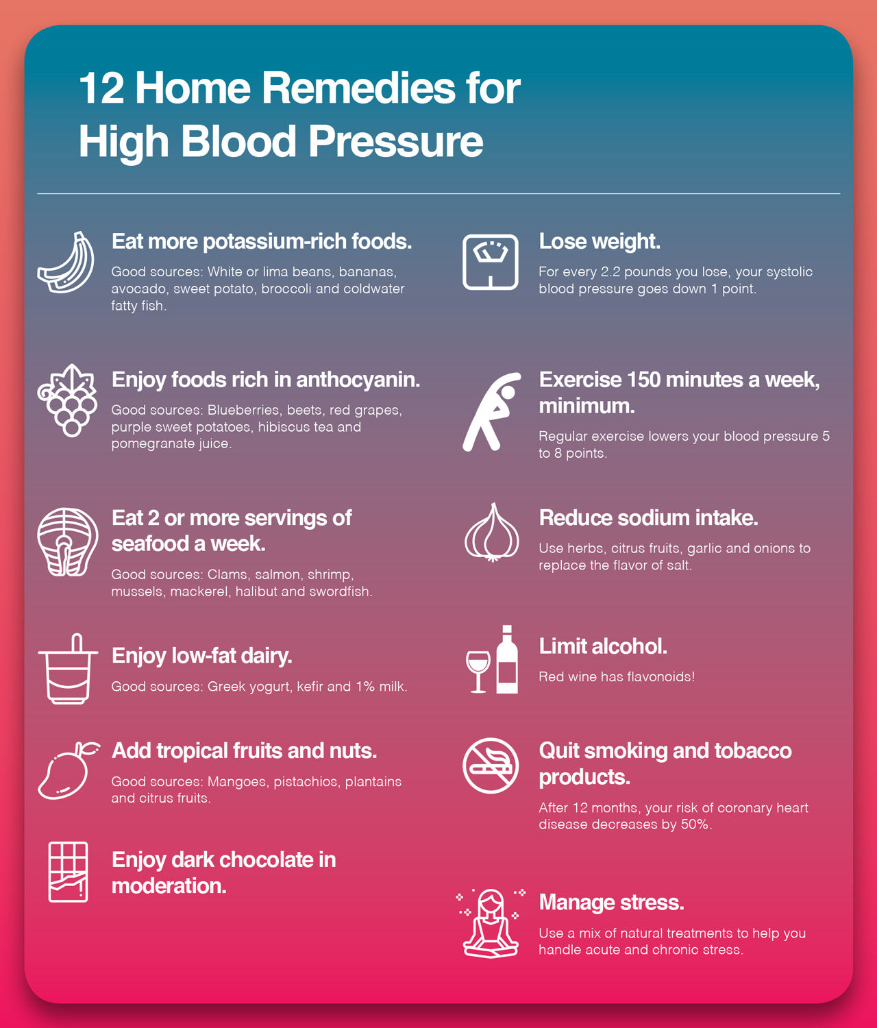 Here are 12 home remedies for high blood pressure.