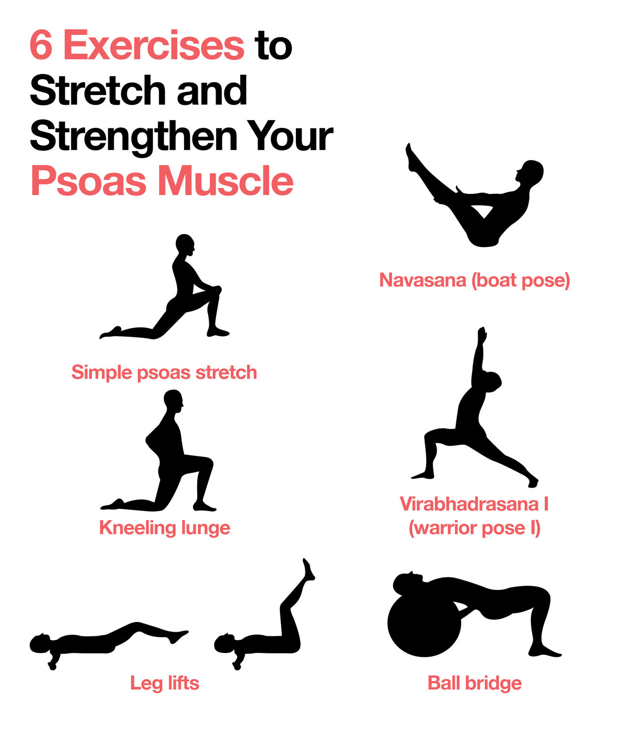 Here are 6 Exercises to Stretch and Strengthen Your Psoas Muscle.