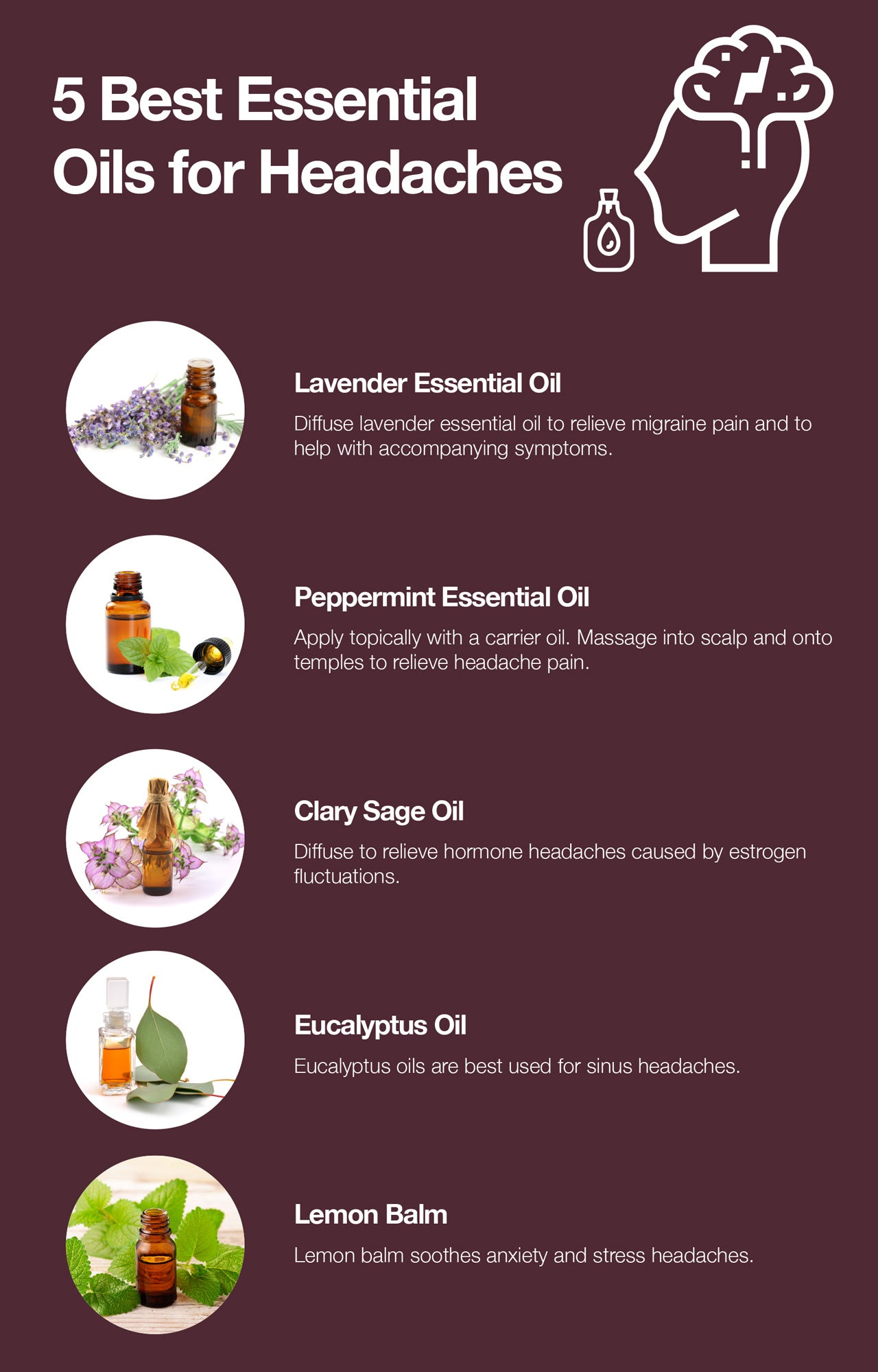 Here are the 5 best essential oils for headaches.
