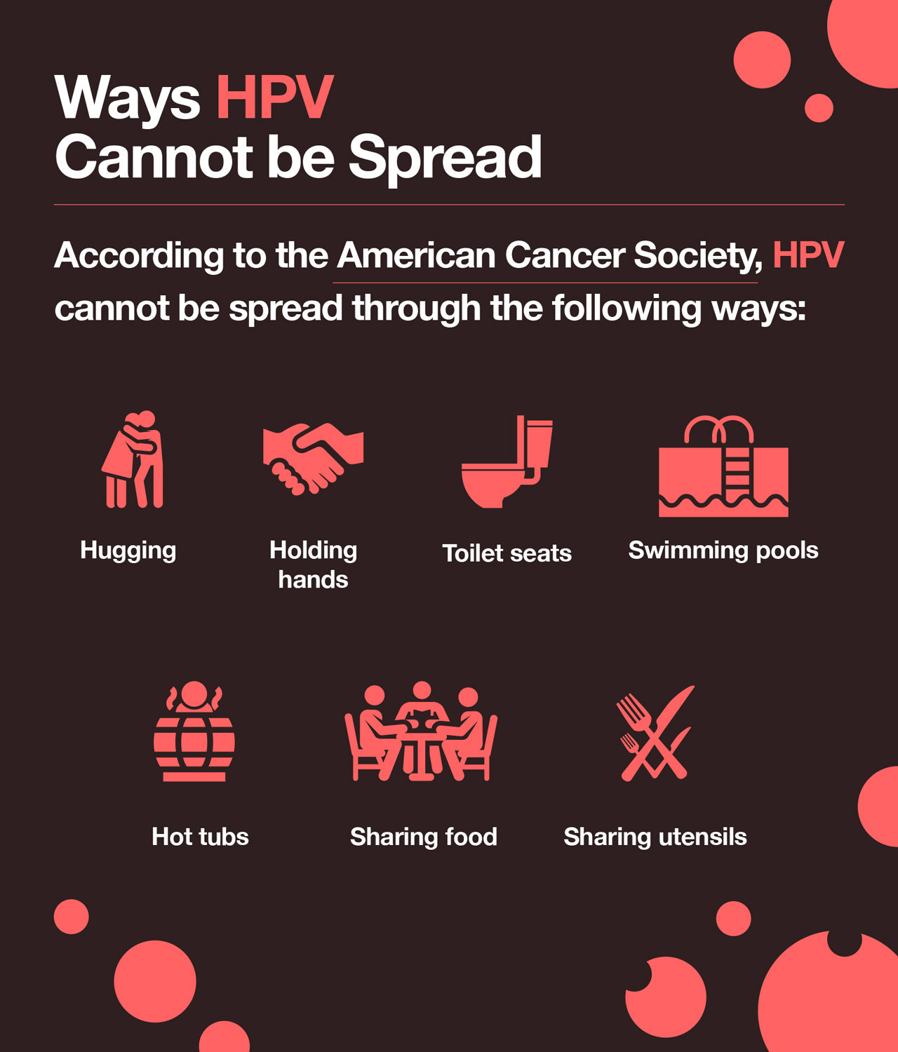 Ways HPV cannot be spread