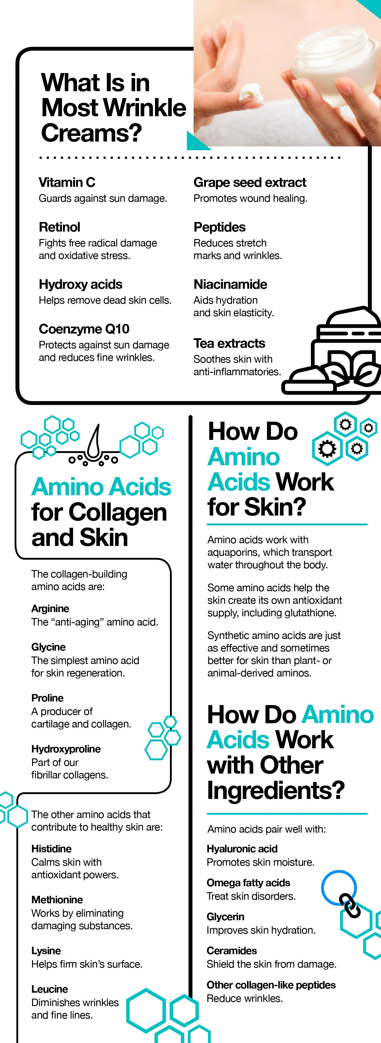 Amino acids for skin tightening and anti aging.