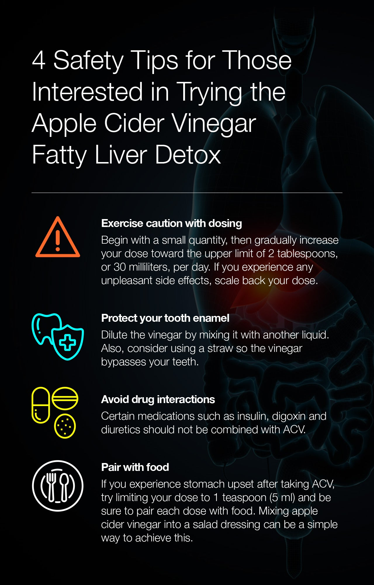4 Safety Tips for Those Interested in Trying the Apple Cider Vinegar Fatty Liver Detox