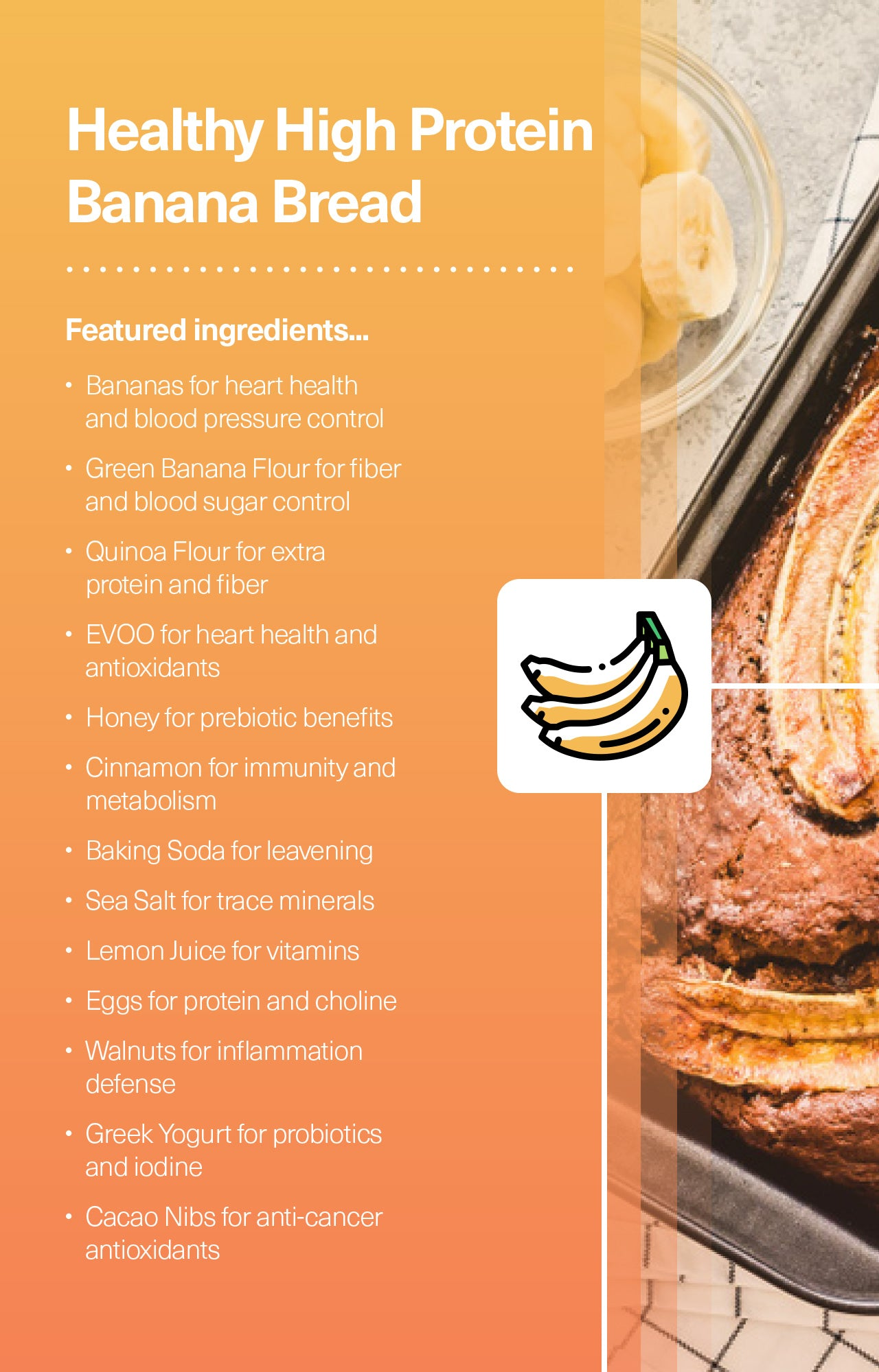 Healthy High Protein Banana Bread Ingredients
