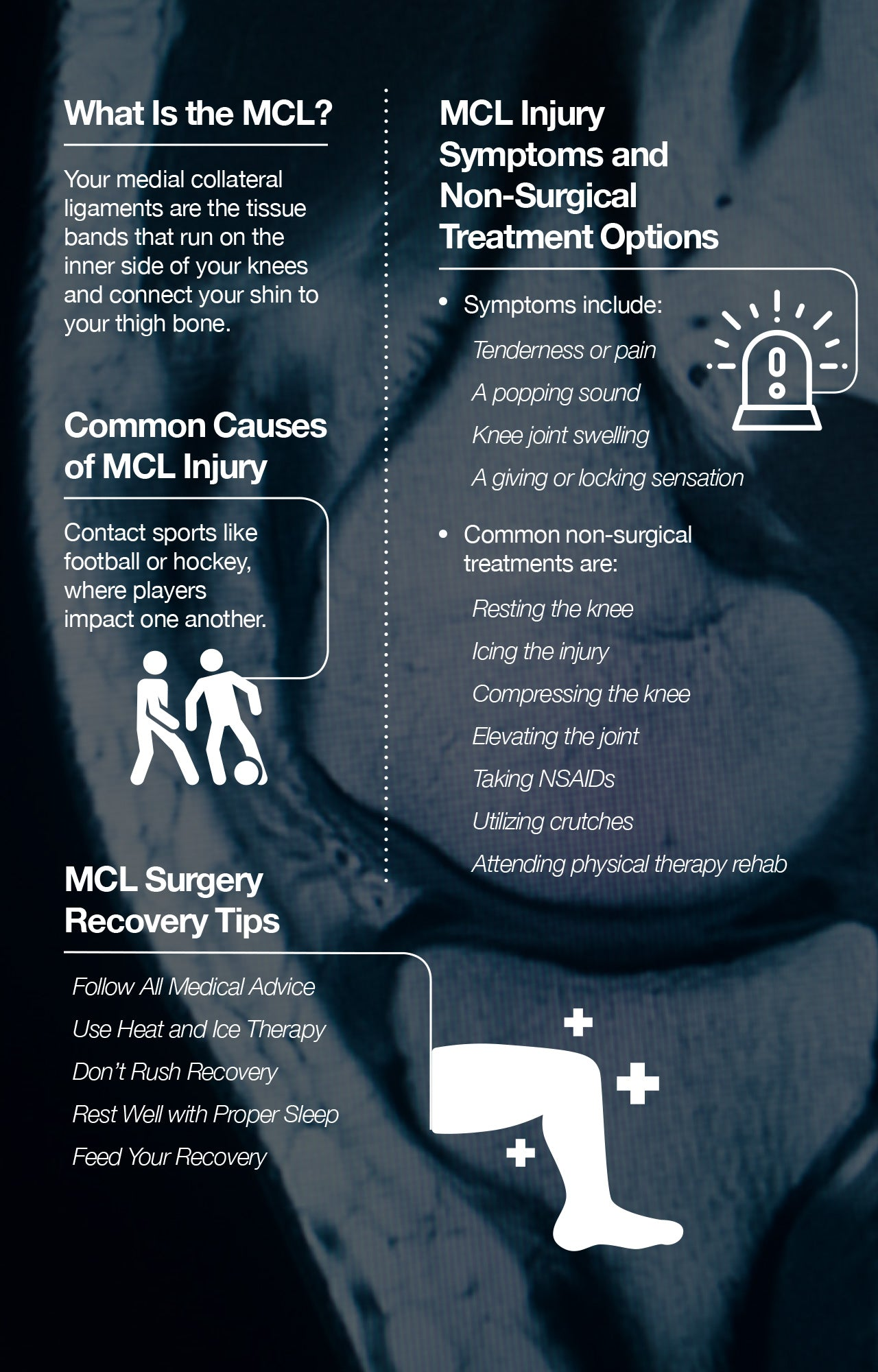 How to speed up MCL surgery recovery.
