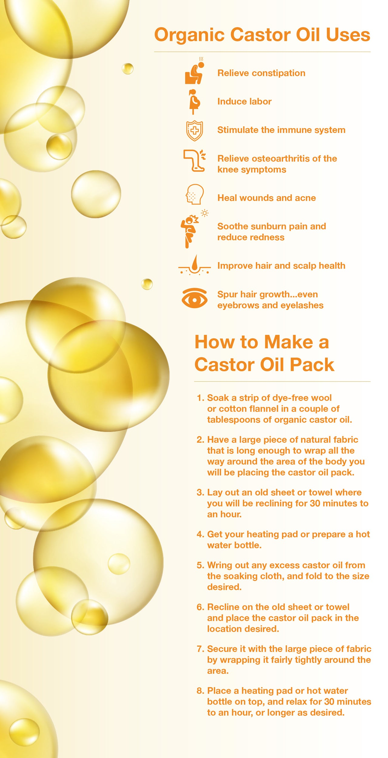 Organic Castor Oil Uses and How to Make a Castor Oil Pack.