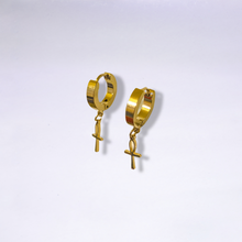 Gold Ankh Mini Hoop Earrings
