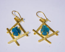 Natural Blue Apatite Vague Earrings