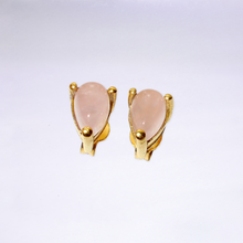 Pear Shaped Rose Quartz Stud Earrings