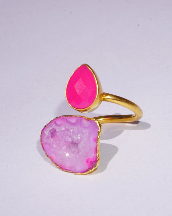 Pink Chalcedony Druzy Ring