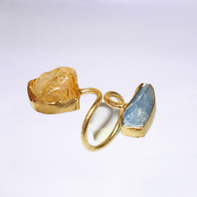 Double Crystal Citrine and Kyanite Ring