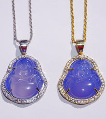 Authentic Periwinkle Jade Buddha Necklace