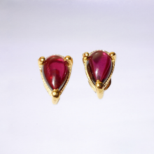 Pear Shaped Garnet Stud Earrings