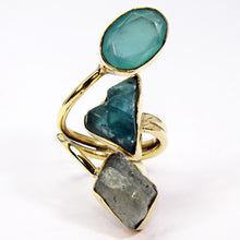 Triple Crystal Aquamarine Kyanite & Chalcedony Ring - Vivrant Vague