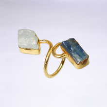 Double Crystal Kyanite and Aquamarine Ring