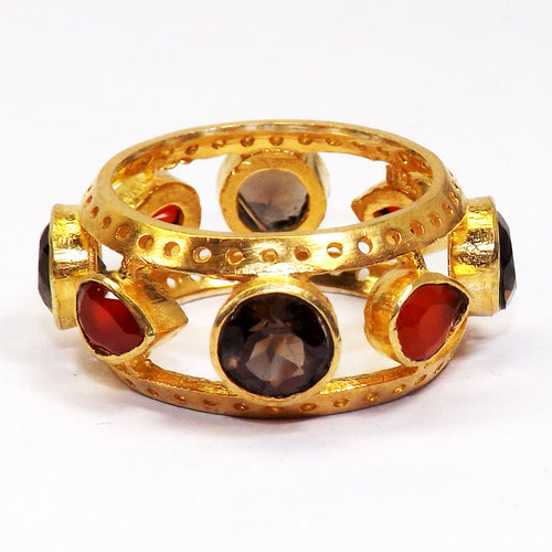 Smoky Quartz and Garnet Kingsman Ring - Vivrant Vague