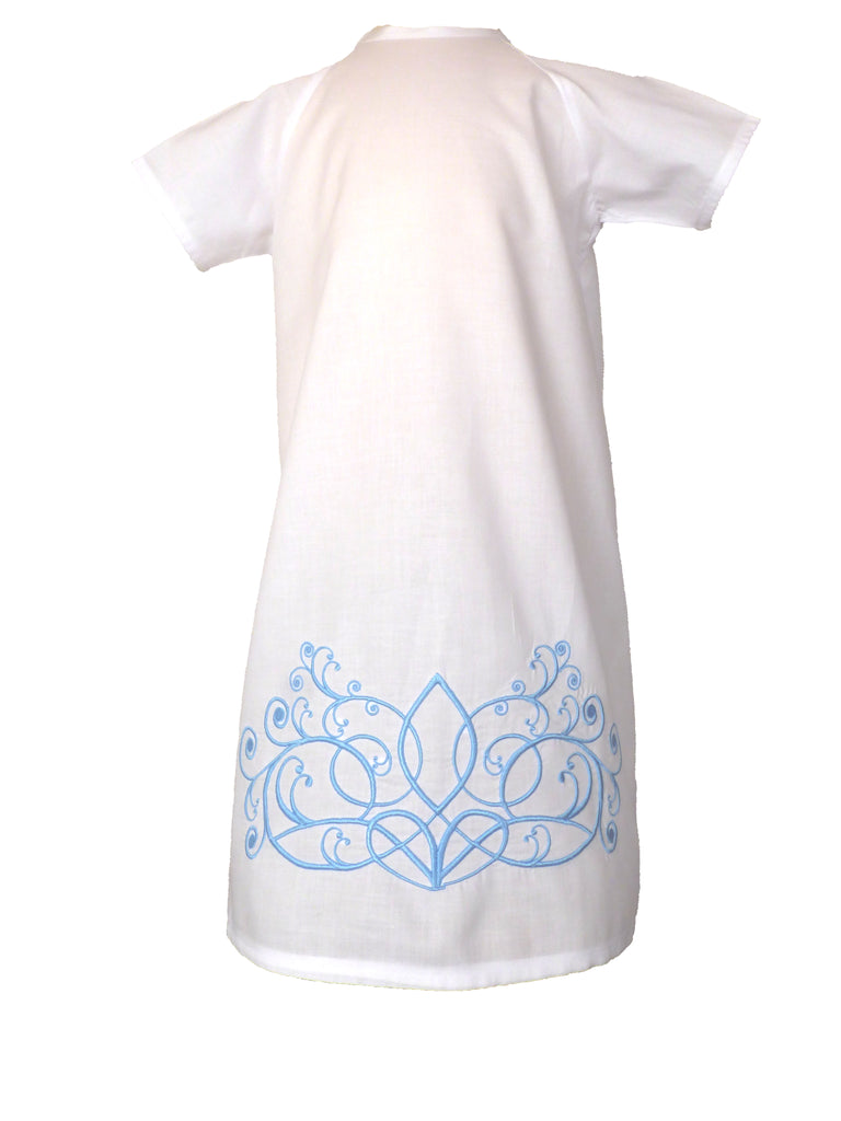 Louis Daygown - White with Blue Embroidery