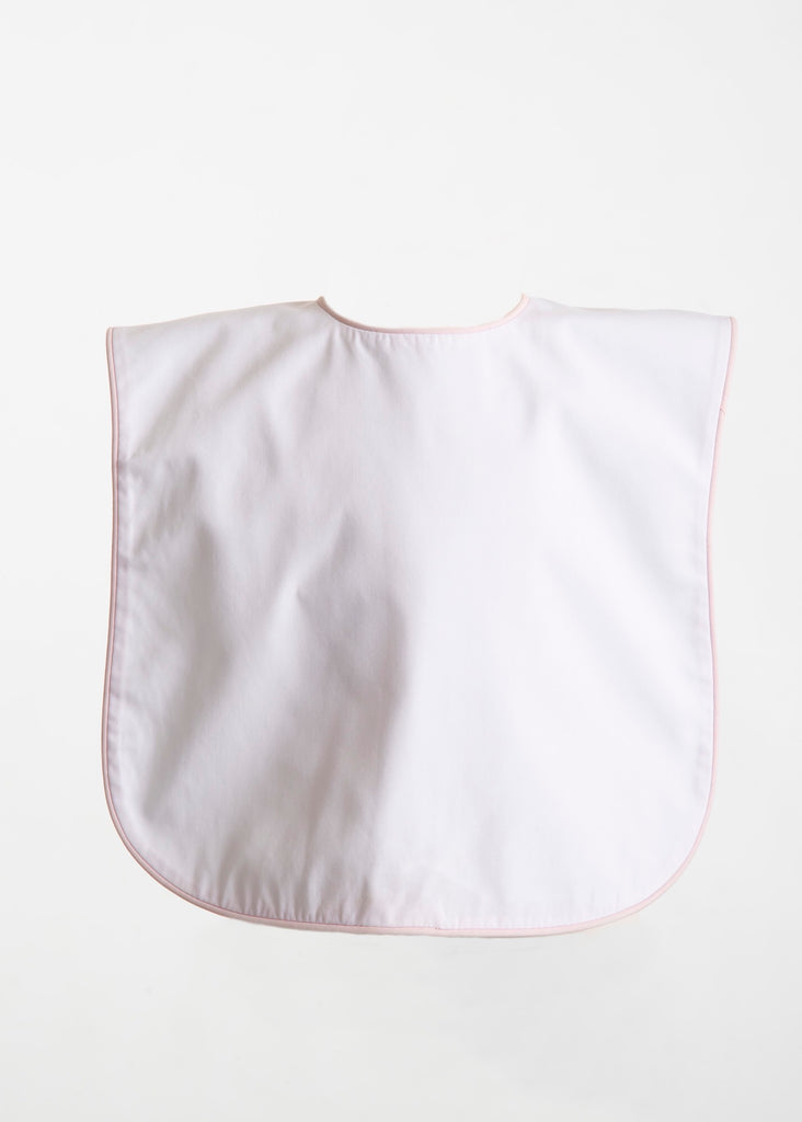 Brookshire Bib - White with Pink Piping