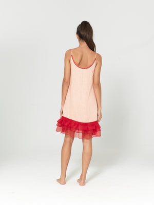 LINNEN DRESS 'LÉA' WITH RED RUFFLES