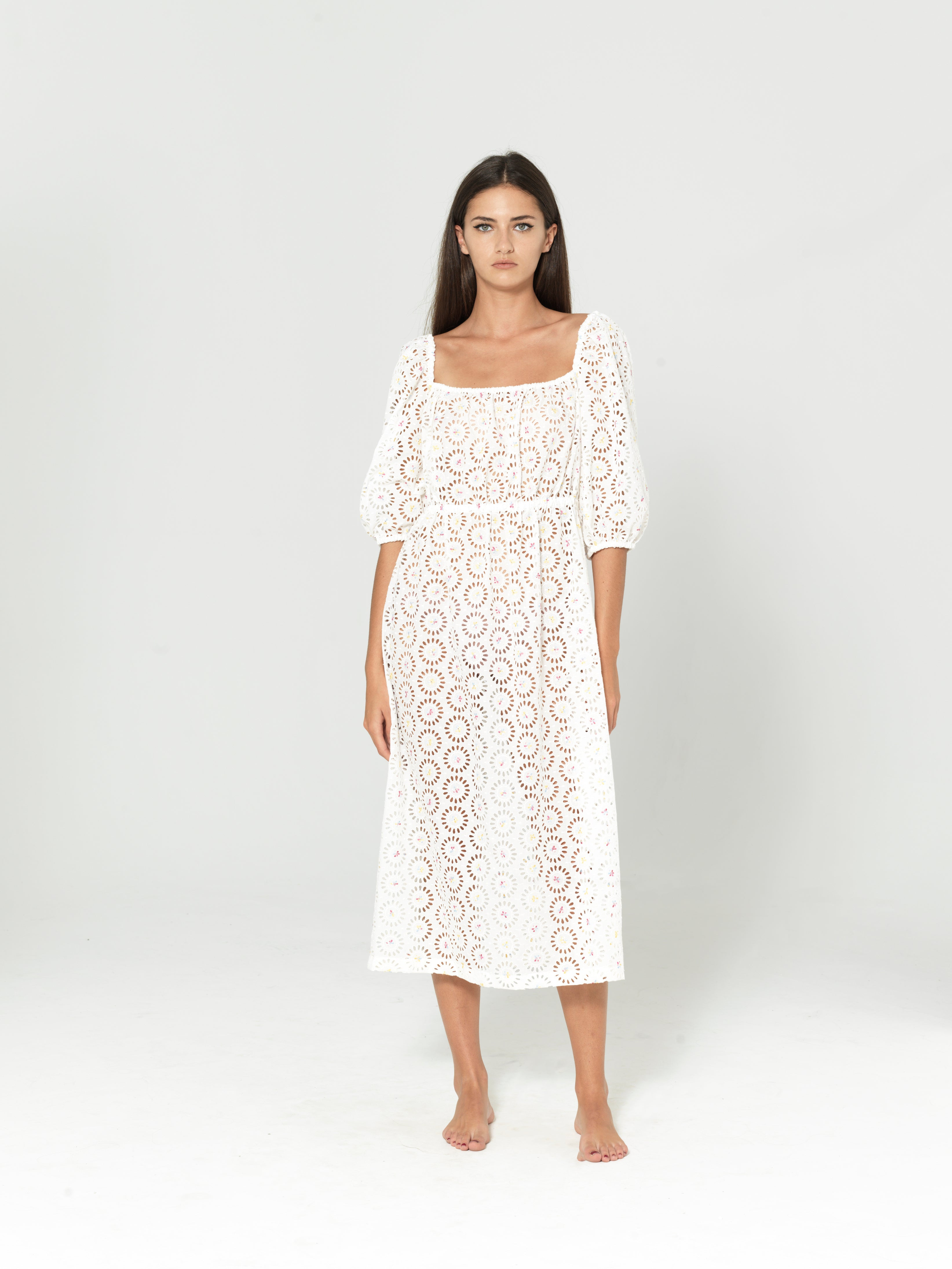 COTTON ENGLISH EMBROIDERY SHOULDER DRESS