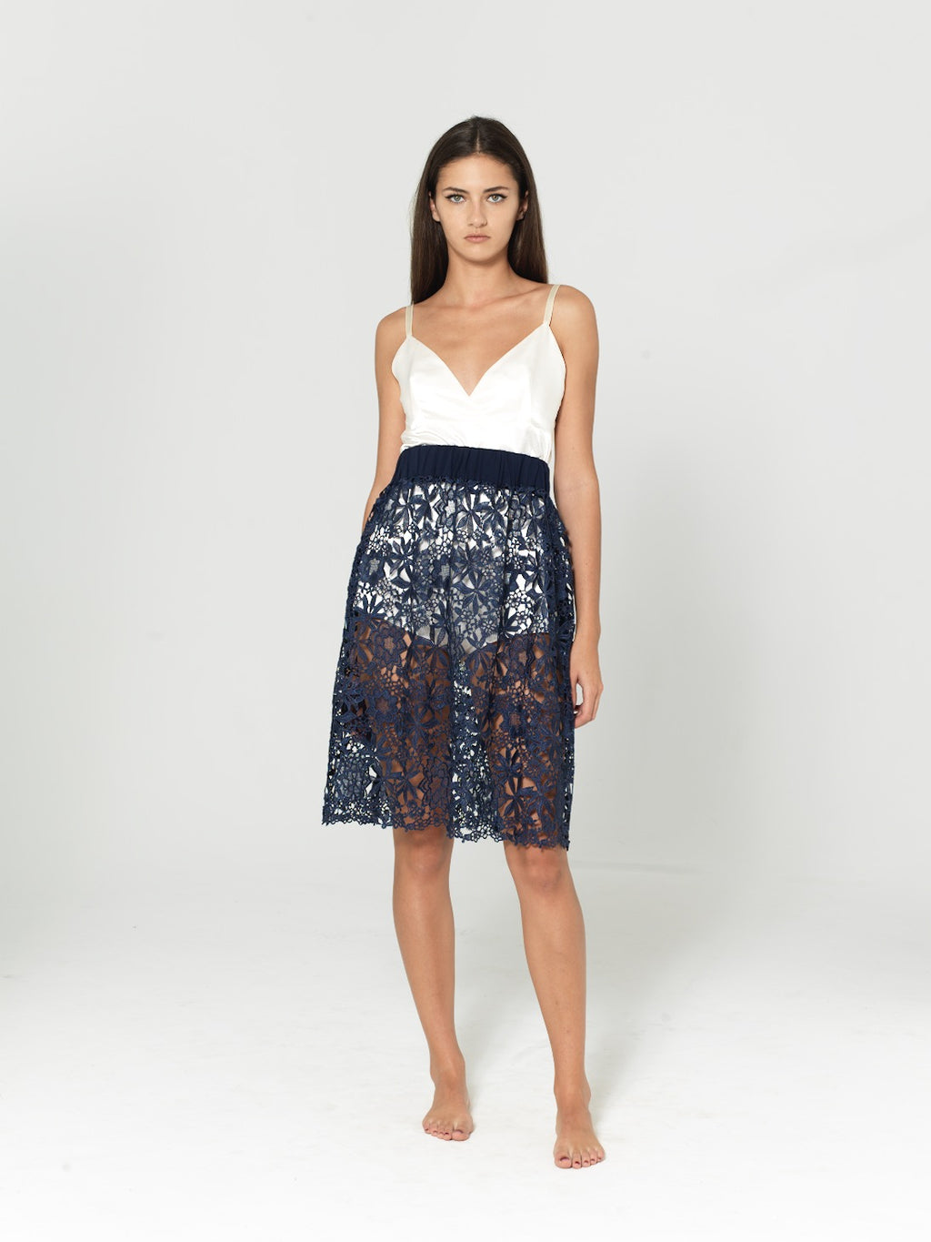 SKIRT DENTELLE DE CALAIS NIGHT BLUE SKIRT