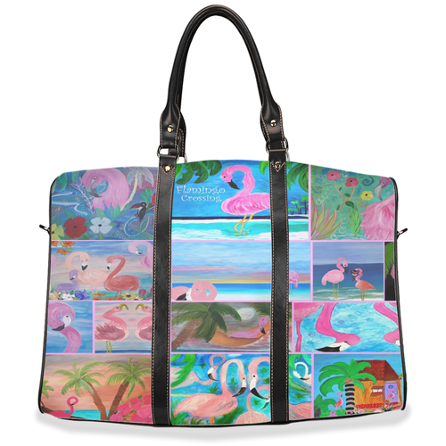 Flamingos beach travel tote bags from my art. - Maremade Designs