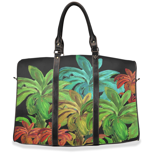 Tropical colorful banana palm trees Travel Bags from my art.