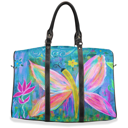 Pink butterfly floral Travel Bags from my art.