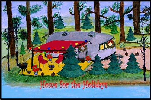 Air stream retro camper by the lake Christmas floor mat - Maremade Designs