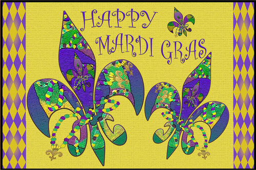Happy Mardi Gras party floor mat from my art. - Maremade Designs