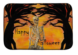Halloween skeleton and spooky tree in sunset kitchen decor - Maremade Designs