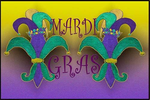 Jesters Mardi Gras floor mat from my art. - Maremade Designs