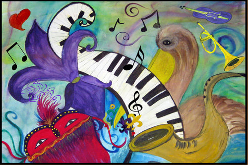 Jazz party Mardi Gras floor mat from my art. - Maremade Designs