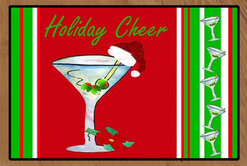 Santa martini Holiday cheer floor mat - Maremade Designs
