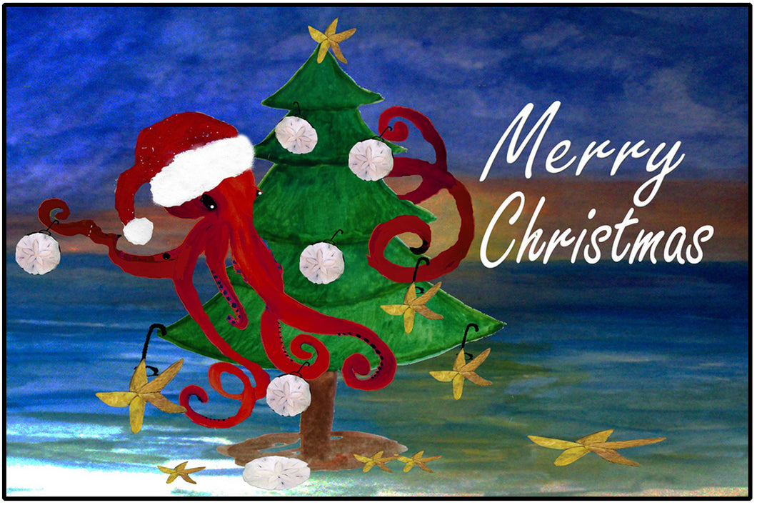 Santa octopus trim a tree Christmas floor mat - Maremade Designs