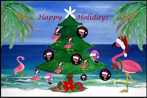 Santa pink flamingos Christmas tree Happy Holidays - Maremade Designs