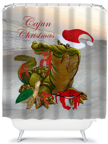 Cajun Christmas shower curtain - Maremade Designs