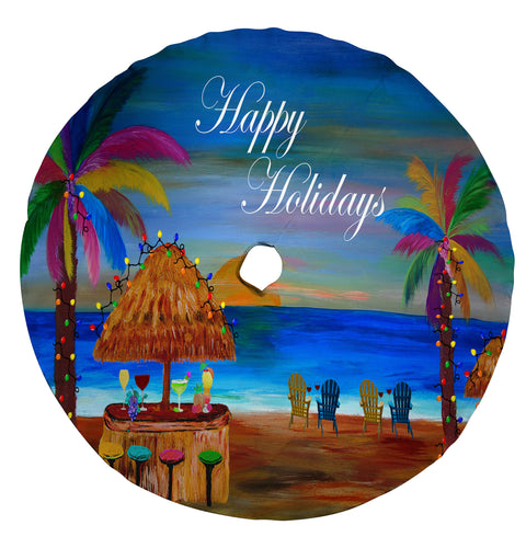 Tiki beach bar cocktail beach Christmas tree skirt - Maremade Designs