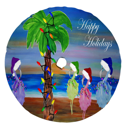 Flamingo Coastal Christmas boat parade Santa tree skirt - Maremade Designs