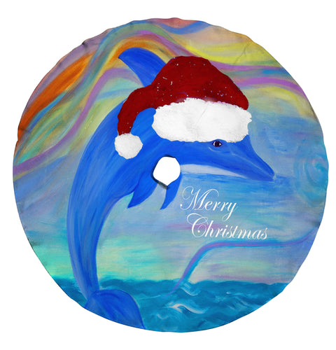 Santa dolphin beach Christmas tree skirt - Maremade Designs