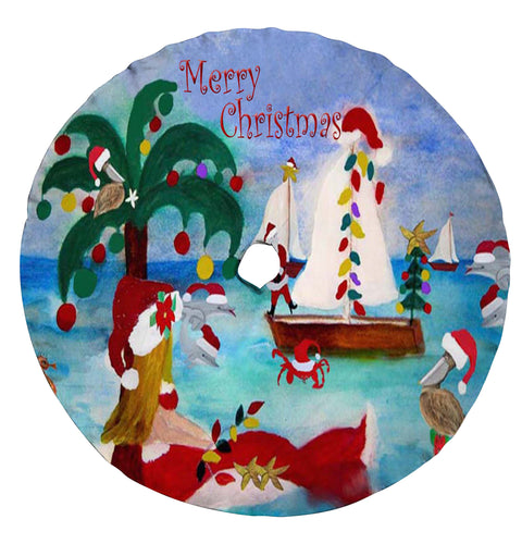 Coastal Christmas boat parade Santa tree skirt - Maremade Designs